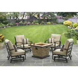 Patio Gas Fire Pit Garden Furniture Set Outdoor Dining Table Chairs Yard 5 Piece