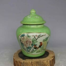 CHINESE OLD MARKED GREEN GLAZED FAMILLE ROSE FLOWER & BIRD PORCELAIN TEMPLE JAR