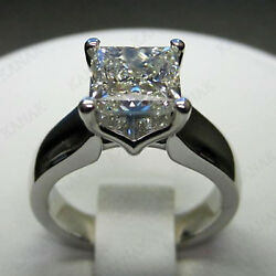 2.00 CT Diamond Princess Cut Solitaire Engagement Ring 14k White Gold Finish
