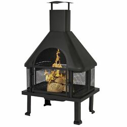 Outdoor Fireplace Bowl Wood Burning Backyard Fire Pit Patio Deck Chimney Heater