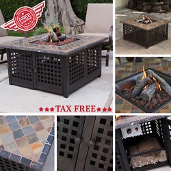 Outdoor Patio Firepit Table Gas Propane Fireplace Backyard Heater Fire Pit Cover