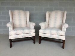 DREXEL TRADITIONAL CLASSICS PAIR OF CHIPPENDALE STYLE WING BACK CHAIRS (WE SHIP)