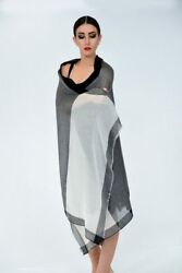 QUEENMARK Shawl Scarf Black Ivory 100% Cashmere Wool Super Soft  Woman New