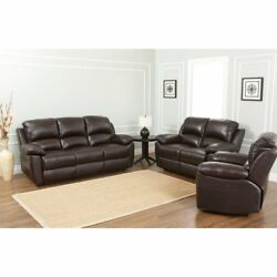 Abbyson Western Top Grain Leather Sofa Loveseat and Recliner Brown