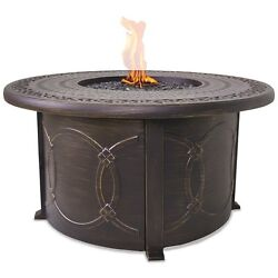 Uniflame Propane Gas Outdoor Firebowl With Cast Aluminum Mantel