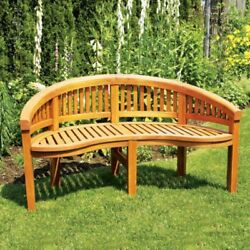 Achla Designs Monet Outdoor Curved Bench Natural Wood