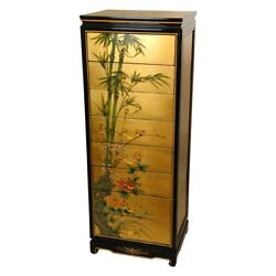 Oriental Furniture Gold Leaf Eight Drawer Cabinet Black