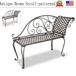 Patio Furniture Garden Metal Seat Chaise Chair Canopy Pool Beach Lounge Brown