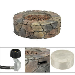 Durable Outdoor Stone Fire Ring Bowl Camping Campfire Pit Gas Firepit Di 28