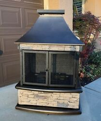 Lava Heat Lorenzo Natural Gas Propane Outdoor Fireplace chimney firepit fire pit