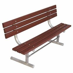 Ultra Play 6 Ft Brown Surface Mount Commercial Park Recycled Back Plastic Bench