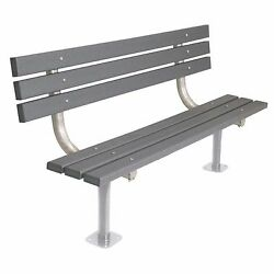 Ultra Play 6 Feet Gray Recycled Back Surface Mount Plastic Commercial Park Bench