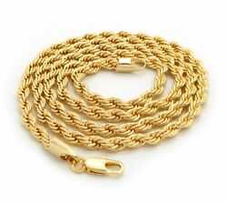Mens 14K Yellow Gold Plated Rope Chain Necklace 2.5mm 3mm 4mm 18