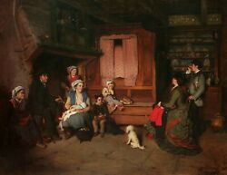 CHARLES CORBINEAU FRENCH PAINTER PAINTING INTERIOR SCENE BRITTANY FRANCE FAMILY