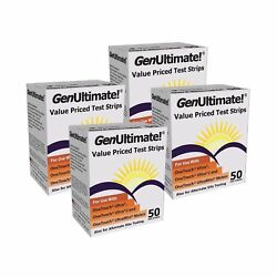 GenUltimate! Blood Glucose Strips 200 count- 4boxes of 50 2DAY SHIP