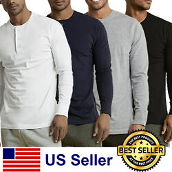New Mens Henley Shirt T shirts shirts Long Sleeve Cotton Pullover Comfy Button $15.95