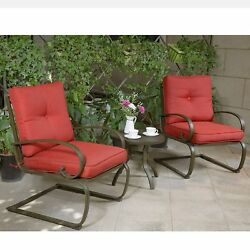 Outdoor Patio Bistro Cafe Table Chair Set Wrought Iron Comfort Cushion Seats