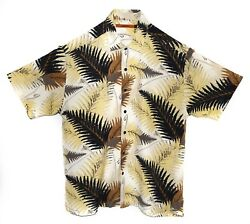 A0606 Axis Tropical Floral Shirt, Large, Tan Black Brown Leaf Nature Floral $20.00