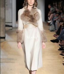 Womens Runway 100% Cashmere Fox Fur Lapel Long Coat Overcoat Slim Fit Outwear