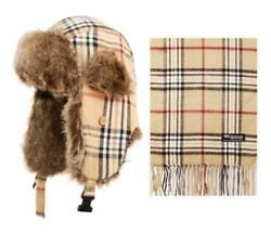 Unisex Plaids Cashmere Feel Winter Trapper Scarf and Touch Screen Gloves set