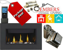 Napoleon BL36 Linear Modern Gas Fireplace Black Surround Wood & Rock Bed Embers