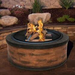Sun Joe Rustic Wood Cast Stone Fire Pit with Dome Screen and Poker