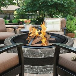 Sun Joe Charcoal Cast Stone Fire Pit with Dome Screen and Poker