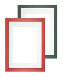 Premium Wood Picture Photo Frame Rainbow Range With Bespoke Mount Green or Red  $23.74