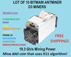 LOT of 10 x Bitmain Antminer D3 (X11 Algorithm) DASH Miners 19.3 Ghs Models