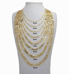 14k Italian Figaro Link Chain Necklace 3mm to 10mm Gold Plated