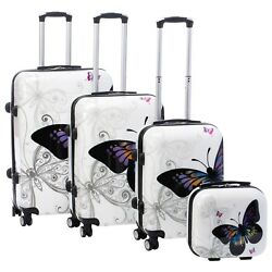 World Traveler Butterfly 4-piece Hardside Spinner Luggage Set with TSA Lock