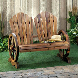 Rustic Country Style Wagon Wheel Adirondack Style Slat-Back Garden Bench For Two