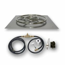 American Fireglass Square Flat Pan with Spark Ignition Kit