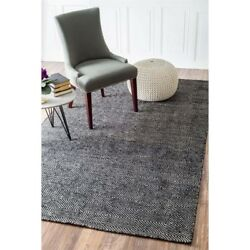 Nuloom 9' X 12' Hand Woven Ago Rug Area Rugs Natural Fibers Wool In Black