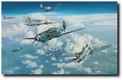Headlong Into The Clash by Robert Taylor - Bf109G - Aviation Art Print