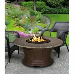 American Fire Products San Simeon Chat Height Round Granite Top Gas Fire Pit