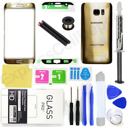 Gold Samsung Galaxy S7 Edge G935 Front Screen Lens Back Glass Replacement Kit $26.90