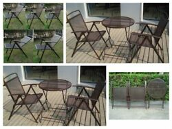 Small Patio Set Bistro Yard Deck 3 Pc Outdoor Foldable Metal Wrought Iron Garden