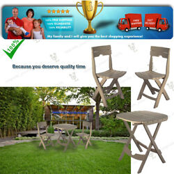 Relax with New 3pc Bistro Folding Set Outdoor Garden Furniture Chairs and Table