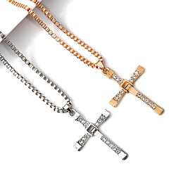 Cross Pendant Necklace Silver Stainless Steel Unisex's Chain Crucifix Men Women