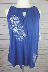 NEW INC International Concepts Plus Size Embroidered Keyhole Halter Top Blue $79
