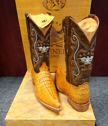 El General Exotic Cowboy Boots Caiman Cola Leather Size 6.5 Butter