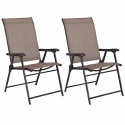 Giantex Set of 2 Patio Folding Sling Chairs Furniture Camping Deck Garden Poo...