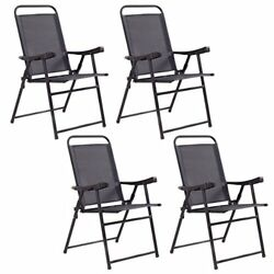 Giantex Set Of 4 Folding Sling Chairs Patio Furniture Camping Pool Beach With...