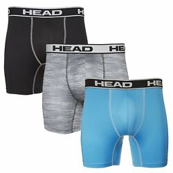 HEAD Mens Performance Underwear 3-PACK Boxer Briefs S-XXL PolyesterSpandex