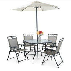 6 Piece Patio Dining Set Folding Table With Chairs Umbrella For Garden Outdoor