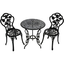 Antique Finish Rose Patio Set Bistro Table and Chairs 3 Pieces Garden Decor Iron