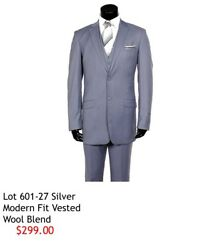 Mens 3pc Suit Silver 44r Wool Blend Modern Fit free tie with purchase