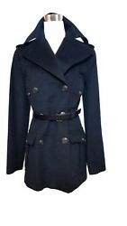 Dolce & Gabbana Women's Wool  Cashmere & Leather Belt Military Coat sz M IT 44
