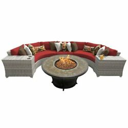 TKC Fairmont 6 Piece Patio Wicker Fire Pit Sectional Set in Red